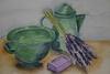 Lavender and green kitchen stuff