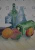Pots, bottles and fruit
