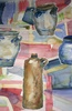 Pots and bottle on colorful background