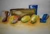 Still life with fruit, bowl, jug