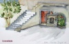 Greek stairs and fire place